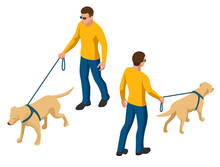 Isometric Man With A Dog On A ...