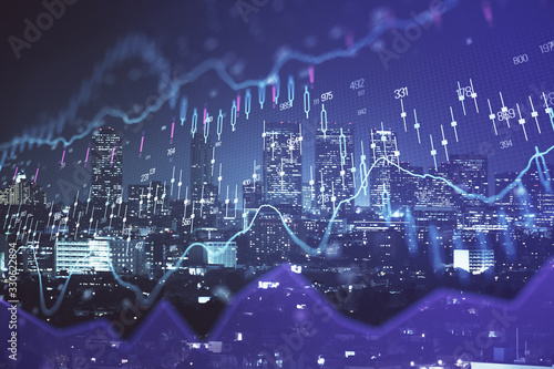 Obraz Financial graph on night city scape with tall buildings background multi exposure. Analysis concept. - fototapety do salonu