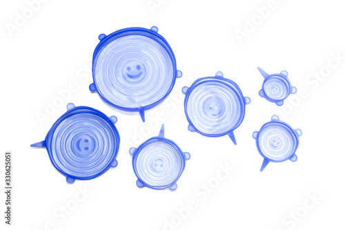 Photo Blue, kitchen covers made of silicone on a white background