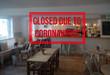 Background defocused image of interior of bar or restaurant closed due to coronavirus or covid-19