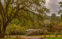 Motor Home Camping In The Mountain Of Winters Ca. Under The Old Oak Trees