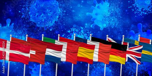 Fototapeta ヨーロッパ コロナ ウイルス 背景 obraz
