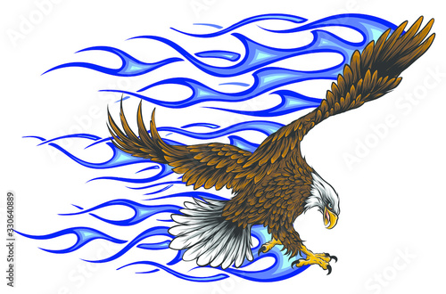 vector illustration of Eagle with Flame blue Canvas-taulu