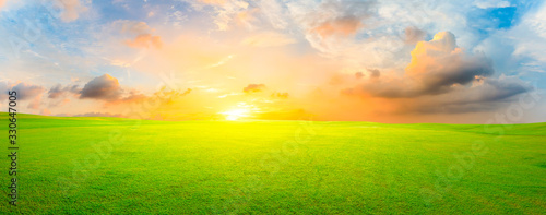 plakat Green grass field and colorful sky clouds at sunset,panoramic view.