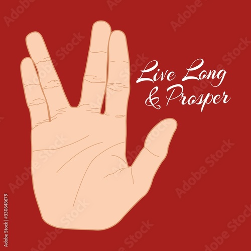 Платно Hand gesture live long and prosper. Vector illustration