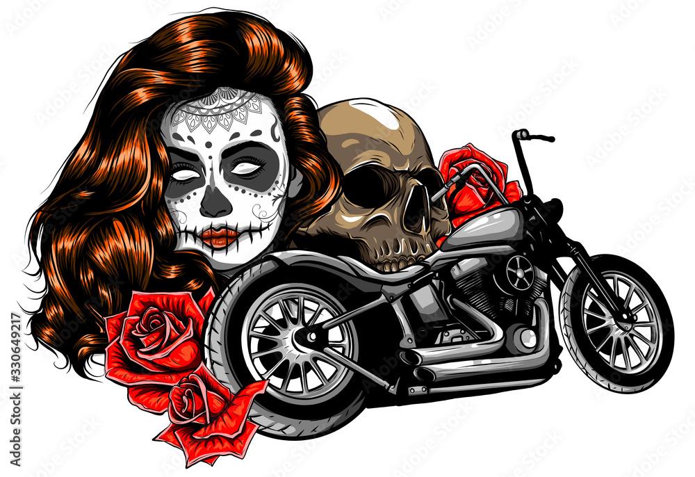 Fototapeta vector illustation vintage chopper motorcycle and roses poster