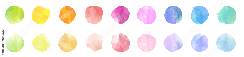 Fototapeta Set of colorful watercolor hand painted round shapes, stains, circles, blobs isolated on white