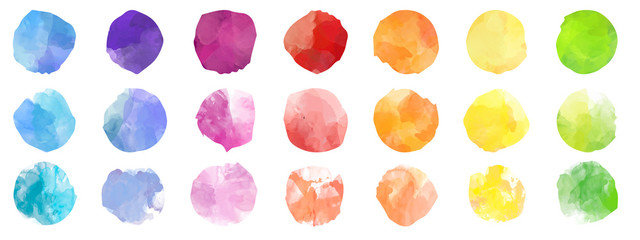 Set of colorful watercolor hand painted round shapes, stains, circles, blobs isolated on white