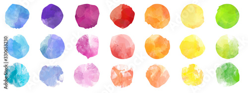 Fotografia, Obraz Set of colorful watercolor hand painted round shapes, stains, circles, blobs iso