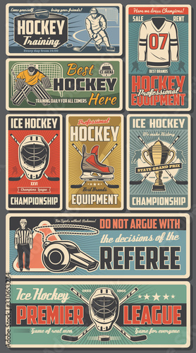 Obraz Ice hockey sport players with sticks, pucks, skates and championship trophy cup on rink vector design. Sport team uniform jersey, hockey arena and referee whistle, goalie helmet, mask and goal gate - fototapety do salonu