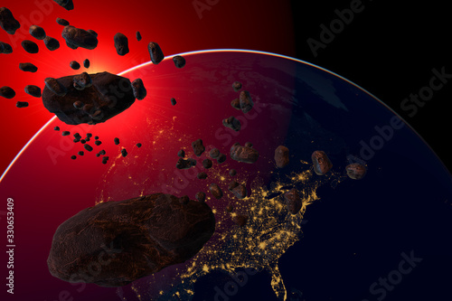 asteroid and swarm of meteorites flying towards Earth - artistic vision Wallpaper Mural