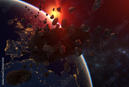 Photo asteroid and swarm of meteorites flying towards Earth - artistic vision