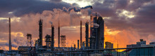 Chemical Plant At Sunrise. Smo...