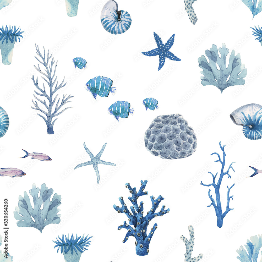 Beautiful seamless pattern with underwater watercolor sea life. Stock illustration.