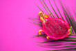 canvas print picture - Dragon fruit isolated on pink background