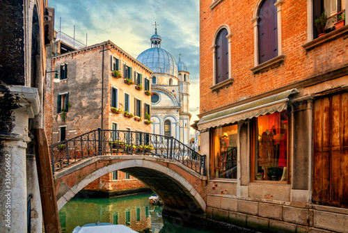 Fototapeta Venice cityscape, water canal, bridge and traditional buildings, Italy. Architecture and landmarks of Venice. obraz