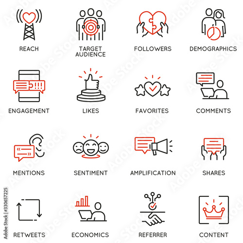 Photo Vector set of linear icons related to influence marketing and social media promotion services