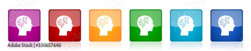 Fotografiet Human head icon set, brain, human, circuit colorful square glossy vector illustr