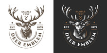 Deer Head Design Element In Vintage Style For Logotype, Label, Badge, T-shirts And Other Design. Retro Illustration.