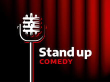 Stand Up Comedy Event Emblem Design. Retro Style Vector Illustration Microphone And Text.