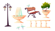 City Park With Fountain, Bench, Street Lamp And Vintage Fence. Vector Cartoon Set Of Outdoor Furniture For Garden Or Seafront With Decoration And Gulls Isolated On White Background