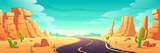 Pustynny krajobraz z drogą, skałami i kaktusami. Ilustracja kreskówka wektor z kolei autostrady w Arizonie lub Meksyku gorącej pustyni piasku z pomarańczowymi górami. Letni krajobraz ameryki zachodniej