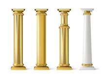 Antique Gold Pillars Set. Anci...