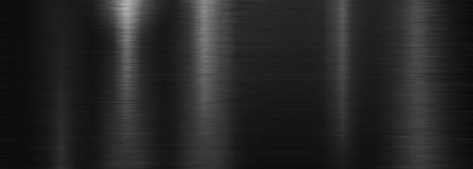 Black brushed polished metal plate or texture