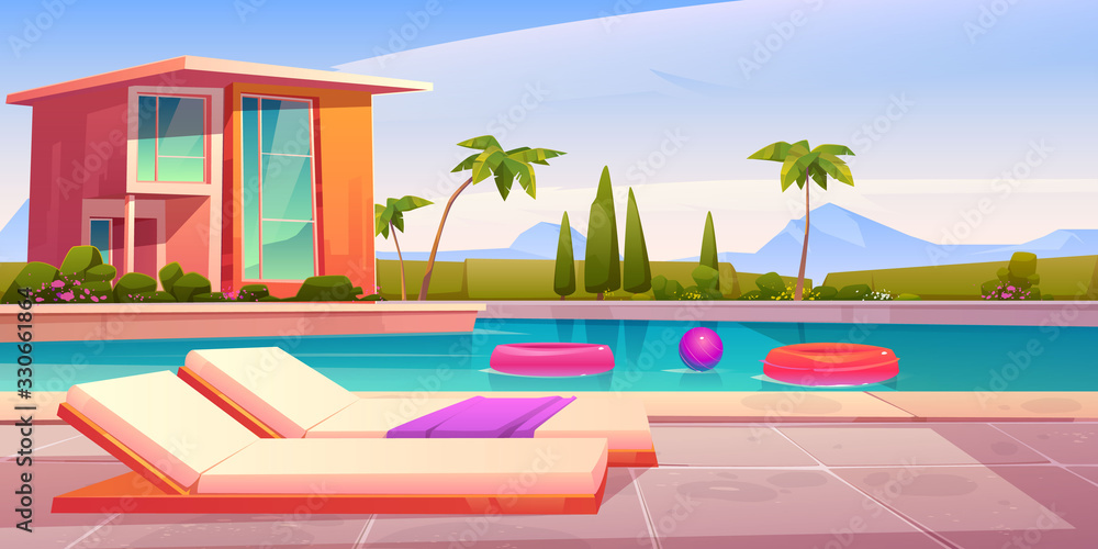 Fototapeta House and swimming pool with deck chairs on poolside and balls in water. Vector cartoon summer landscape with villa, basin on lawn, palms and mountains on background