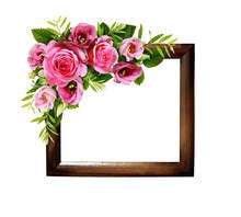 Pink Roses And Eustoma Flowers In A Floral Corner Arrangement On Wodden Frame