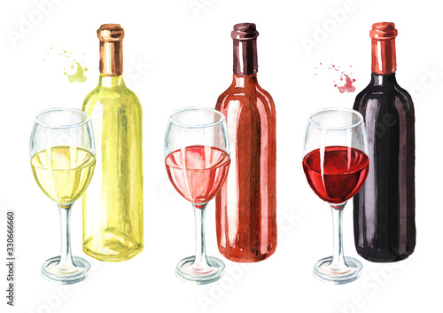 Obraz Bottle and glass of wine set. Hand drawn watercolor illustration, isolated on white background - fototapety do salonu