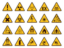 Warning Signs. Yellow Triangle...
