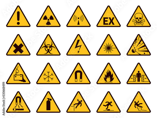 Obraz Warning signs. Yellow triangle alerts symbols, attention chemical, flammable and radiation danger, accident exclamation caution vector icons - fototapety do salonu