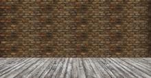 Brick Wall With Painted Hardwo...