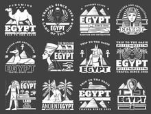 Egypt Travel Icons With Ancient Egyptian Pharaoh Pyramids, Sphinx And Gods. Vector Anubis And Horus With Ankh Symbol, Cat, Dog And Scarab, Nefertiti And Tutankhamun With Hieroglyphs Monochrome Emblems