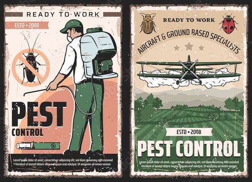 Obraz Pest control vector design of insect and bug protection service. Exterminator with insecticide or pesticide sprayer and cockroach chalk, agricultural aircraft dusting crop, colorado beetle and ladybug - fototapety do salonu
