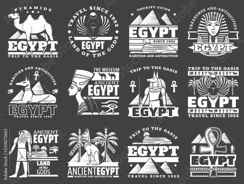 Photo Egypt travel icons with ancient Egyptian pharaoh pyramids, Sphinx and gods