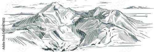 Fototapeta Piękny rysunek gór wykonany w technice wektorowej  obraz