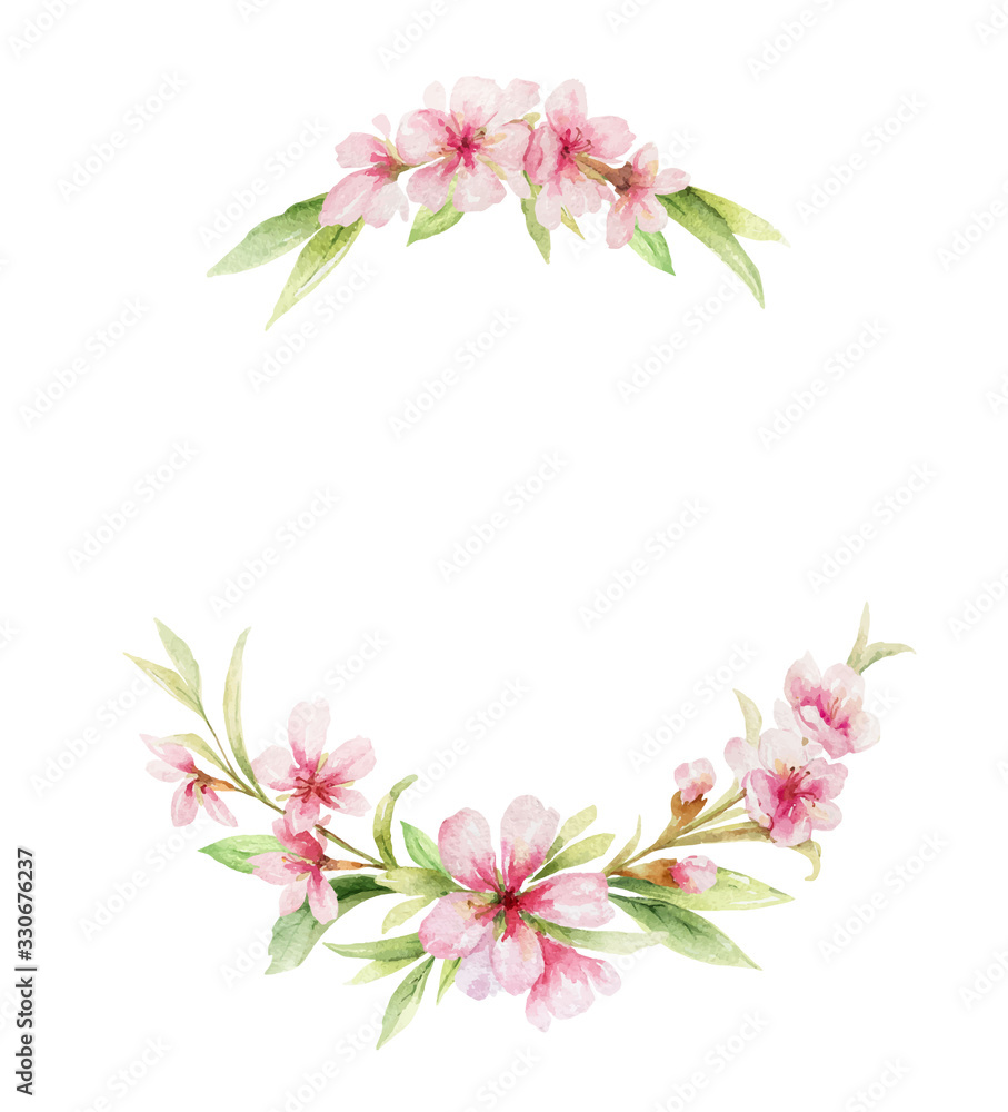 Fototapeta Watercolor vector wreath of pink flowers and almond leaves.