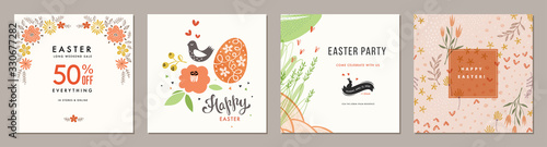 Photo Trendy Easter floral square templates