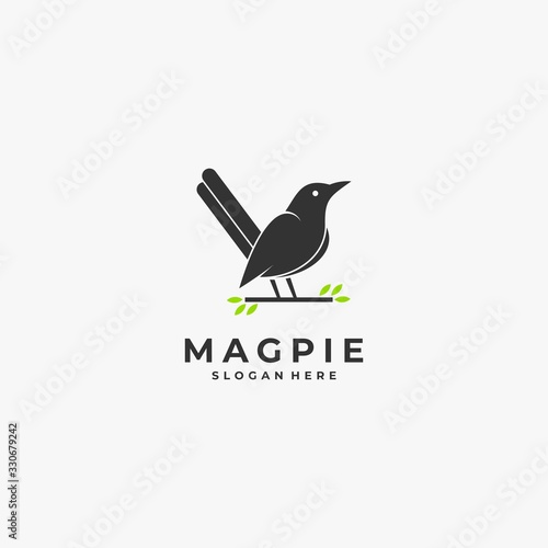 Photo Vector Logo Illustration Magpie Bird Silhouette Style.