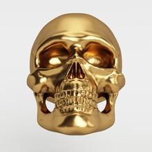 3D Rendered Golden Human Skull