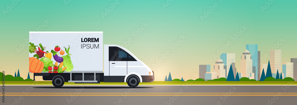 Fototapeta realistic van with organic vegetables on city highway natural vegan farm food delivery service vehicle with fresh veggies cityscape background horizontal flat vector illustration
