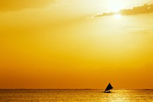 Seascape With Golden Sunset An...