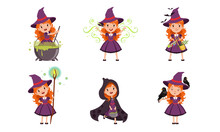 Lovely Little Witch Cartoon Character Collection, Cute Red Haired Girl In Purple Dress And Hat Vector Illustration