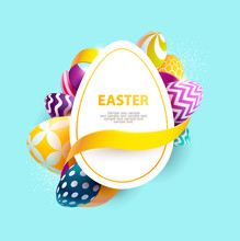 Easter Colorful Poster With Pl...