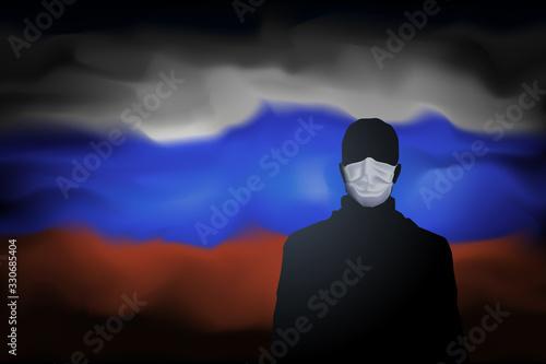Obraz COVID-19 coronavirus epidemic in russia. Silhouette of man in medical mask on abstract russian flag background. Global COVID-19 coronavirus pandemic, pneumonia. Banner design concept. Vector - fototapety do salonu