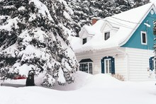Big House Covered With White S...