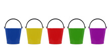 Colorful Plastic Bucket Isolated On White Background