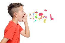 Young Boy In Bright Red T-shirt Shouting Out Alphabet Letters. Speech Therapy Concept Over White Background.